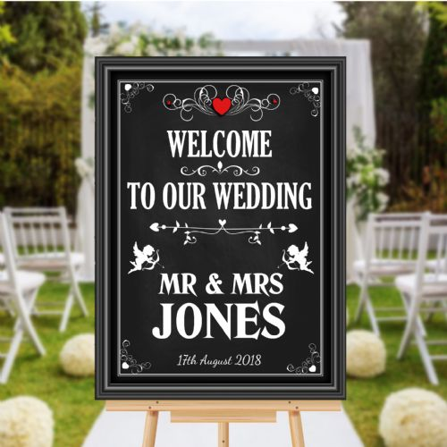 Personalised Vintage Welcome to our Wedding Sign Poster Banner - Chalkboard Style Print N110